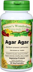 Agar Agar Capsules - 575 mg, 60 Veg Capsules (Gelidium amansii Lamouroux)