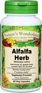 Alfalfa Herb Capsules - 450 mg, 60 Veg Capsules (Medicago sativa)