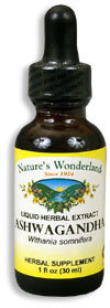 Ashwagandha Extract, 1 fl oz / 30ml  (Nature's Wonderland)