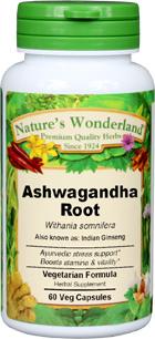 Ashwagandha Root Capsules - 525 mg, 60 Veg Capsules (Withania somnifera)