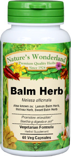 Sweet Balm Capsules - 475 mg , 60 Veg Capsules  (Melissa officinalis)