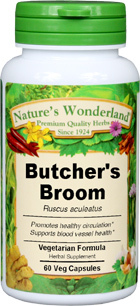 Butcher's Broom Capsules - 550 mg, 60 Veg Capsules (Ruscus aculeatus)