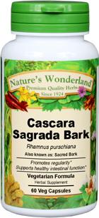 Cascara Sagrada Capsules, 60 Veg Capsules - 525 mg (Rhamnus purshiana)