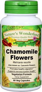 Chamomile Flowers Capsules, Organic - 350 mg, 60 Veg Capsules (Matricaria recutita)
