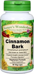 Cinnamon Bark Capsules, Organic - 575 mg, 60 Veg Capsules (Cinnamomum aromaticum)
