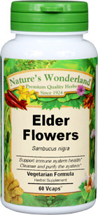 Elder Flowers Capsules - 500 mg, 60 Veg Capsules (Sambucus nigra)