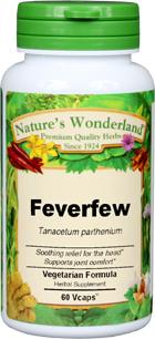 Feverfew Capsules - 400 mg, 60 Veg Capsules (Tanacetum parthenium)