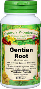Gentian Root Capsules - 500 mg, 60 Veg Capsules (Gentiana lutea)