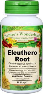 Eleuthero Root Capsules - 500 mg, 60 Veg Capsules (Eleutherococcus senticocus)