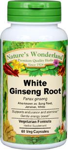 Ginseng Root Capsules, White - 675 mg, 60 Veg Capsules (Panax ginseng)