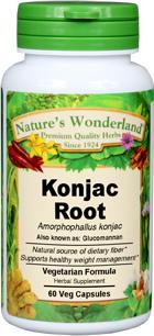 Konjac Root Capsules - 650 mg, 60 Veg Capsules (Amorphophallus konjak)