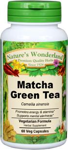 Matcha Green Tea, Organic Capsules - 575 mg, 60 Veg Capsules (Camellia sinensis)