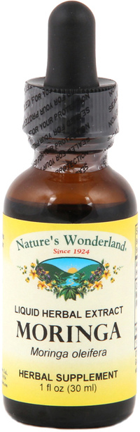 Moringa Leaf Liquid Extract - Organic, 1 fl oz / 30 ml (Nature's Wonderland)