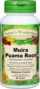 Muira Puama Capsules - 425 mg, 60 Veg Capsules  (Ptychopetalum olacoides)
