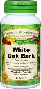White Oak Bark Capsules - 525 mg, - 525 mg, 60 Veg Capsules  (Quercus alba)