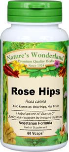 Rose Hips Capsules - 750 mg, 60 Veg Capsules (Rosa canina)
