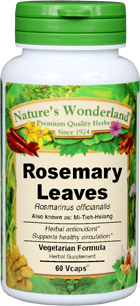 Rosemary Capsules - 475 mg, 60 Veg Capsules  (Rosmarinus officinalis)