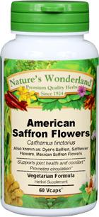 American Saffron Flowers Capsules - 600 mg, 60 Veg Capsules (Carthamus tinctorius)