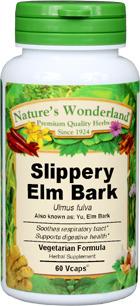 Slippery Elm Bark Capsules - 500 mg, 60 Veg Capsules (Ulmus rubra)