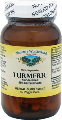 Turmeric Standardized Extract w/Black Pepper - 450 mg, 60 veggie caps (Nature's Wonderland)