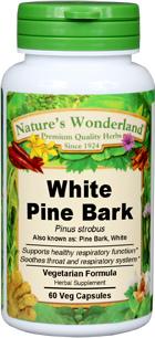 White Pine Bark Capsules - 400 mg, 60 Veg Capsules (Pinus strobus)