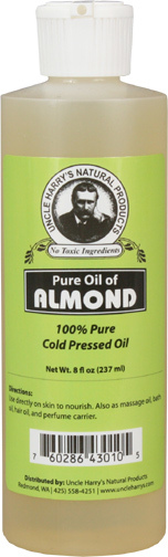 Almond Oil- Pure, 8 fl oz / 237 ml (Uncle Harry's)