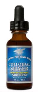 Colloidal Silver Liquid - 500 ppm, 2 fl oz / 60ml (Natural Path Silver Wings)
