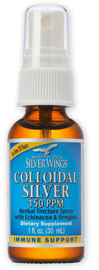 Colloidal Silver Herbal Tincture - 150 ppm, 1 fl oz spray (Natural Path Silver Wings)