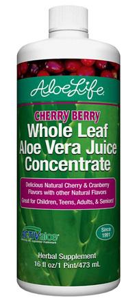 Whole Leaf Aloe Vera Juice Concentrate - Cherry Berry, 16 fl oz (Aloe Life)
