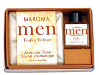 Men's Soap & Perfume Gift Set - Tonka Vetiver 3.5 oz / 10ml (Maroma)