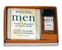 Men's Soap & Perfume Gift Set - Cedar Lavender 3.5 oz / 10ml (Maroma)