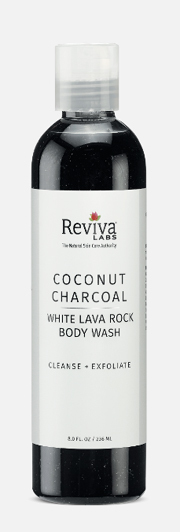Coconut Charcoal and White Lava Body Wash, 8 fl oz (Reviva Labs)