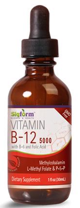 Vitamin B-12 Liquid - 5000 mcg, 1 fl oz / 30ml (Sigform)