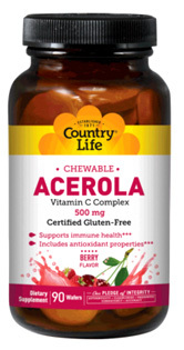 Acerola Vitamin C Complex - 500 mg, 90 chewable wafers (Country Life)