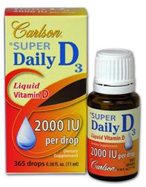 Vitamin D Liquid / Super Daily D3 Drops - 2000 IU, 0.38 fl oz/11ml (Carlson Labs)