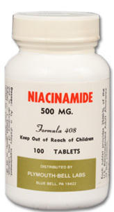CLEARANCE SALE: Niacinamide (B-3) 500 mg, 100 tablets (Plymouth Bell)