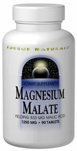 Magnesium Malate, 1250 mg - 90 tablets  (Source Naturals)