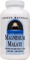 Magnesium Malate, 1250 mg - 180 tablets  (Source Naturals)