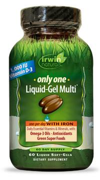 Only One Liquid-Gel Multi® With Iron, 60 liquid soft gels (Irwin Naturals)
