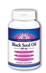 Black Seed Oil Capsules - 650 mg,  90 vegetarian liquid capsules (Heritage Store)