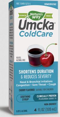 Umcka Cold Care Syrup - Cherry Flavor, 99% Alcohol-Free, 4 fl oz  / 120 ml (Nature's Way)