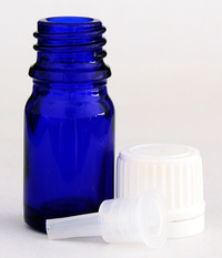 Empty Glass Cobalt Blue Bottle with Lid and Orifice Reducer, 5 ml