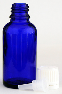 Empty Glass Cobalt Blue Bottle with Lid and Orifice Reducer, 30 ml