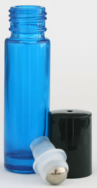 Empty Blue Glass Roll-on Bottle with Lid 10 ml