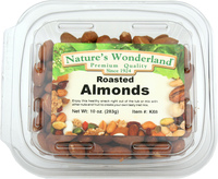 Almonds, Roasted, Unsalted 10 oz (Nature's Wonderland)