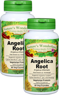 Angelica Root Capsules, Organic -  500 mg, 60 Veg Capsules each (Angelica officinalis)