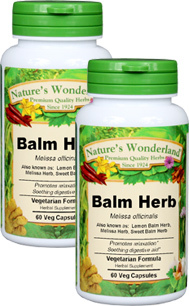 Lemon Balm Capsules - 475 mg, 60 Veg Capsules each (Melissa officinalis)