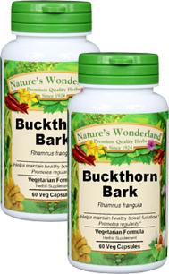 Buckthorn Bark Capsules - 525 mg, 60 Veg Capsules each (Rhamnus frangula)