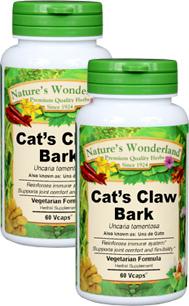 Cat's Claw Bark Capsules - 575 mg, 60 Veg Capsules each (Uncaria tomentosa)
