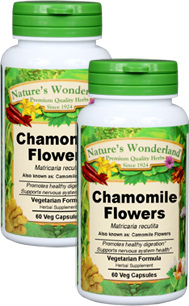 Chamomile Flowers Capsules - 350 mg, 60 Veg Capsules each (Matricaria recutita)